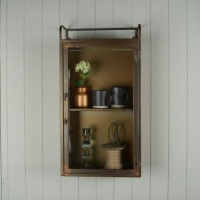 Antique Brass Wall Cabinet with Glass Door by Grand Illusions