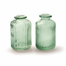 Recycled Green Glass Herringbone Bottle by Casa Verde