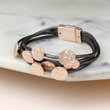 Grey leather & rose gold finish disc bracelet by Peace of Mind