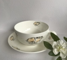 Running Hare Cup & Saucer by Sam Purcell at The Hare in The Sweater