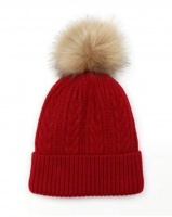 Deep Red Cable Knit Faux Fur Bobble Hat by Peace Of Mind