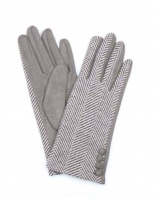 Herringbone Wool/Faux Suede Gloves in Taupe by Peace of Mind