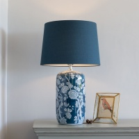 Indigo Fleurs Lamp with Blue Shade by Grand Illusions