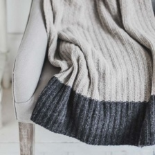 Light Grey wool rich, ribbed Throw by Biggie Best