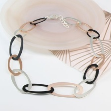 Mixed metalic matt finish linked hoop necklace by Peace of Mind