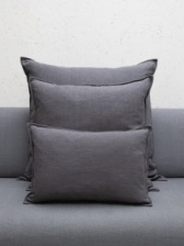 Oblong Natural Fibre Charcoal Cushion by ChalkUK