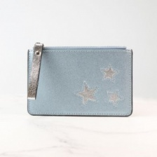 Metalic Blue Card Holder with Silver Stars by Peace of Mind