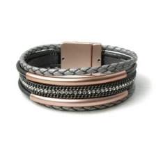 Grey, multi strand, plaited leather bracelet  by Peace of Mind