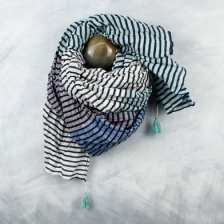 Blue & aqua striped, cotton scarf by Peace of Mind