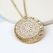 Silver and gold plated decorative disc necklace by Peace of Mind