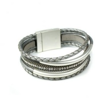 Silver & Grey, multi strand, plaited leather bracelet  by Peace of Mind