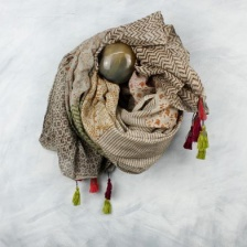 Taupe, multi hand block print cotton scarf by Peace of Mind