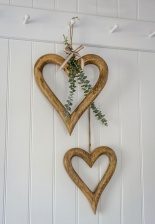 Natural Wooden Chunky Hanging Heart (Large) by Retreat