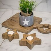 Large Natural Wood Star Tea Light Holder by Retreat