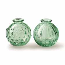 Recycled Green Glass Small Ridged Vase  by Casa Verde