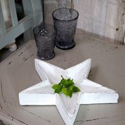 White Wooden Star Tray by Retreat