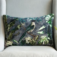Forest Bird Velvet Cushion by Grand Illusions