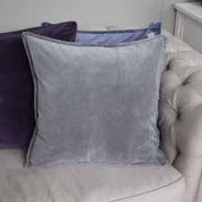 Grey velvet cushion by Biggie Best
