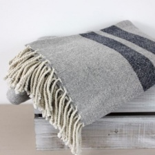 Brixton Grey & Navy Throw by Biggie Best