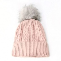 Pink Cable Knit Faux Fur Bobble Hat by Peace Of Mind