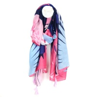 Pink and blue mix leaf print scarf with tassels by Peace Of Mind
