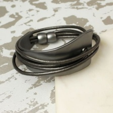 Dark grey leather &  metal wrap curve bracelet by Peace of Mind