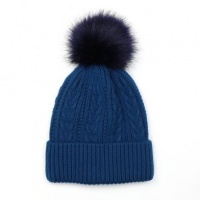 Deep Teal Cable Knit Faux Fur Bobble Hat by Peace Of Mind