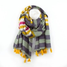 Olive Green and Mustard striped cotton scarf by Peace of Mind