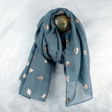 Blue Grey & Gold Bee print scarf by Peace of Mind