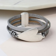 Grey leather, silver plated heart wrap bracelet by Peace of Mind