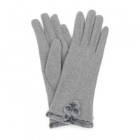 Grey Pom-Pom Gloves by Peace Of Mind