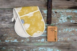 Headlong Hare, ochre cotton oven gloves by Sam Wilson Studio