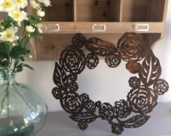 Hand Forged Metalwork Rustic Floral Wreath by Juniper House