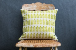 Leaf print natural linen, square cushion by Sam Wilson Studio