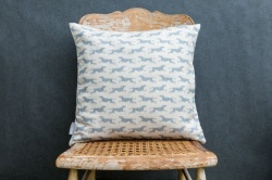 Fast Dog natural linen cushion by Sam Wilson Studio