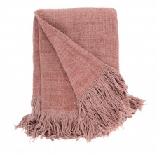 Mushroom Pink Jute Cotton Throw by Raine & Humble