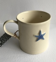 Hand Painted Light Blue Star Mug by ECP Design