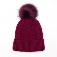 Magenta Cable Knit Faux Fur Bobble Hat by Peace Of Mind