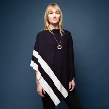 Marilyn Cashmere Poncho Navy & Grey by Tilley & Grace