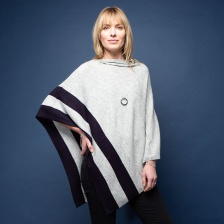 Marilyn Cashmere Poncho Grey & Navy by Tilley & Grace