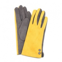 Mustard and Grey Faux Suede Button Gloves by Peace Of Mind
