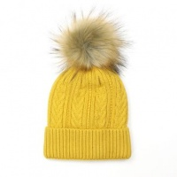 Mustard Cable Knit Faux Fur Bobble Hat by Peace Of Mind