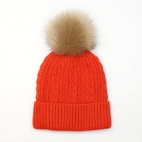 Orange Cable Knit Faux Fur Bobble Hat by Peace Of Mind