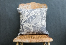 Owl & Fox natural linen cushion by Sam Wilson Studio