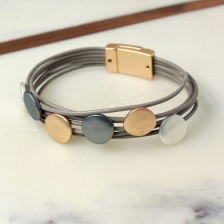 Taupe leather mixed metalic disc bracelet by Peace of Mind