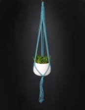 Hand Crafted Macrame Plant Hanger in Teal by Hanga