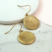 Gold plated  bobble disc earrings by Peace of Mind