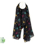 Recycled Dark Swallow  Print Scarf by Peace of Mind