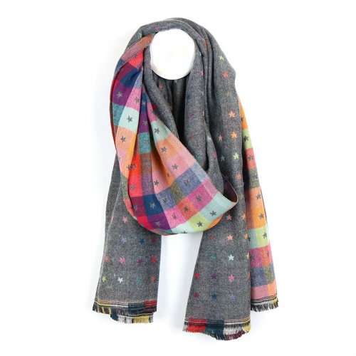 Grey, Multi Check, Little  Jacquard Star Scarf by Peace of Mind