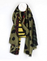 Bold Animal Print Scarf in Khaki by Peace of Mind